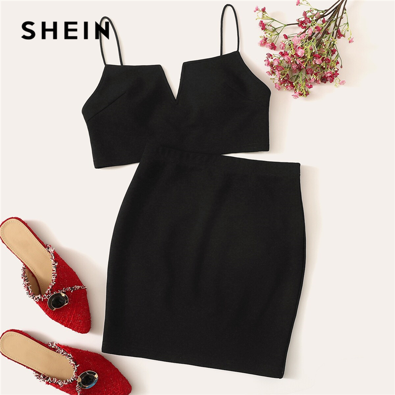 SHEIN V-Cut Crop Cami Top And Skirt Set Sexy Black Solid Notched Spaghetti Strap Summer Sleeveless Women Two Piece Sets