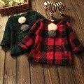 Девушки шерстяное пальто плед девушки зимние пальто 2015 куртки мода дети ребенок пальто для детей
