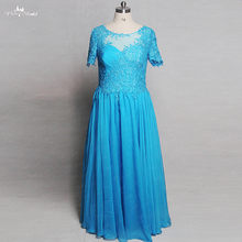 RSE811 Cor Azul Mangas Curtas Illusion Voltar Lace Chiffon Dress Vestido Mae da Noiva Plus Size(China)