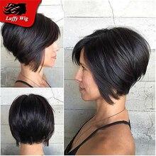 Wholesale Bob Human Hair Wig No Lace Wig Bob Cut Short Straight None Lace Wig For Black Woman Bleached Knots #1b Hair color