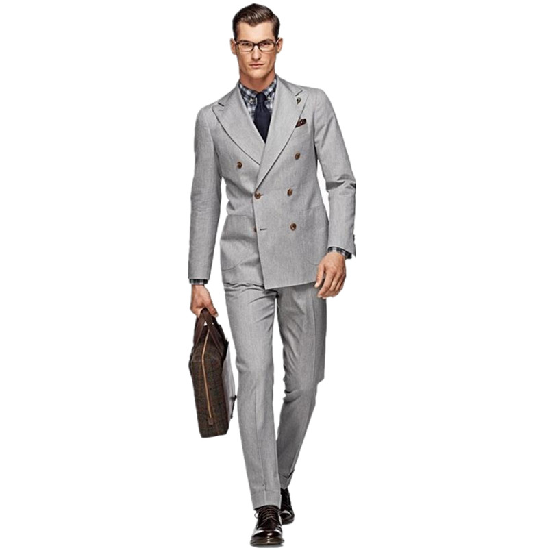 Compare Prices on Light Grey Double Breasted Suit- Online Shopping ...