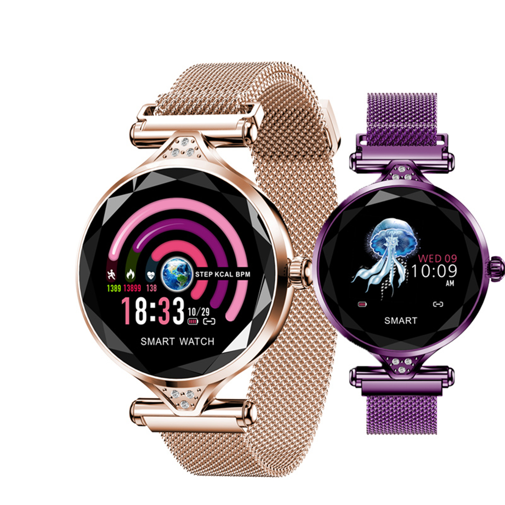 H1 Senhora Relógio de Forma Das Mulheres Assistir Monitor De Freqüência Cardíaca Inteligente Rastreador De Fitness Mulheres Smartwatch Bluetooth Pulseira Inteligente À Prova D' Água.