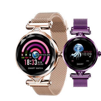Reloj inteligente H1 para mujer, reloj a la moda con frecuencia cardíaca monitor, seguidor Fitness reloj inteligente para mujer, pulsera inteligente resistente al agua con Bluetooth.