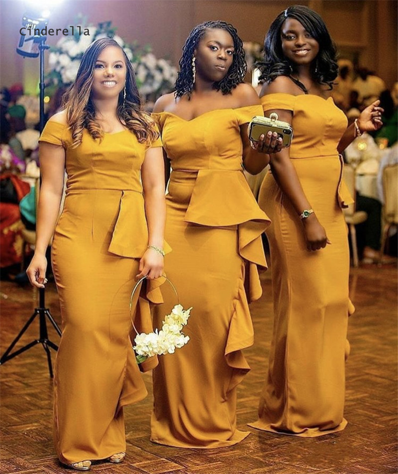 Cinderella Arican Yellow Off The Shoulder Sweep Train Satin Mermaid   Bridesmaid     Dresses   Trumpet Wedding Party   Bridesmaid     Dresses