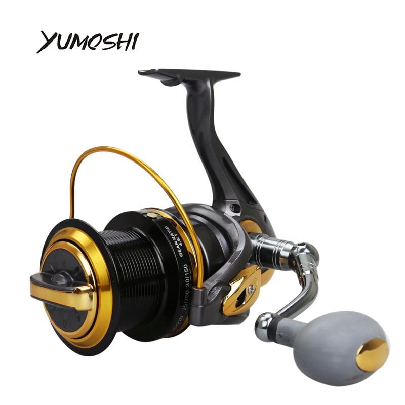 YUMOSHI 13BB bobina di Pesca 4.1: 1 Ruota di Metallo CNC rocker Lontano Forza di filatura della bobina di pesca In Mare Mare