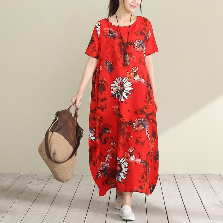 linen and cotton casual loose dress short sleeve maxi long dress for women printed flower beach vestidos femininos vintage new
