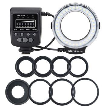 Meike FC-100 makro pierścień Flash światło dla Nikon D7100 D7000 D5200 D5100 D3200 tanie i dobre opinie Canon Pentax Olympus SAMSUNG Fujifilm Lumix Light mode Flash mode L mode(Left half of the annular flash) R mode for Nikon