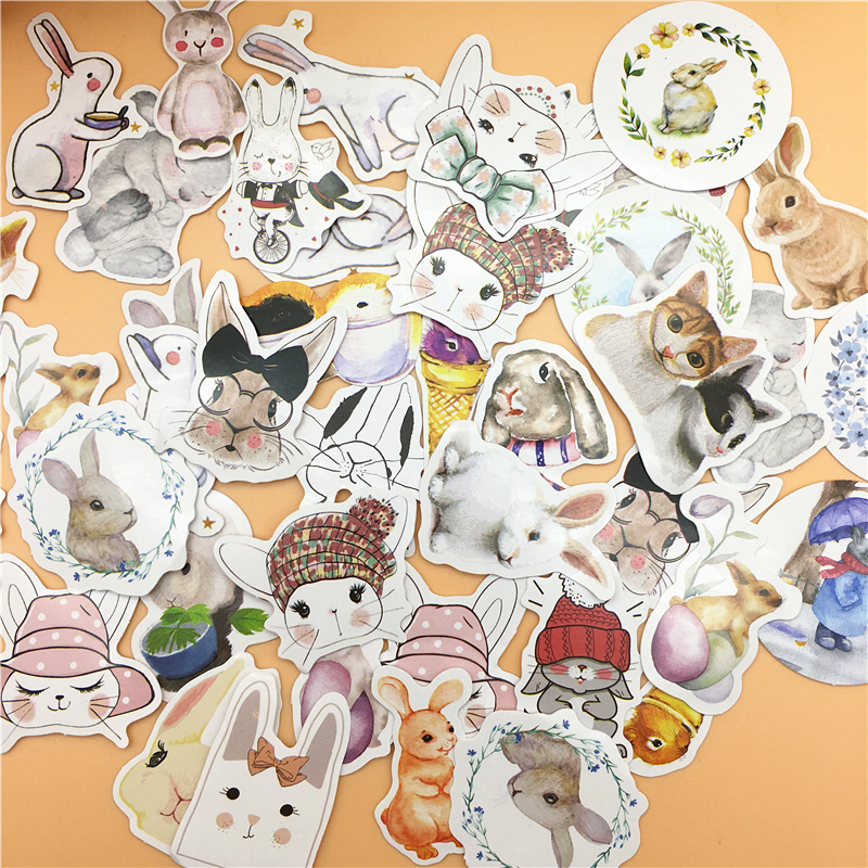 45pcs/box Kawaii Rabbit Cute Bunny Planner Diary Scrapbook Stationery Sticker