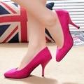 Mulheres Sapatos de Salto Alto Confortável Vestido Sólida Dedo Apontado Rebanho Stweet Ladies Trabalho Bombas Sapato Feminino 2016 Outono Nova