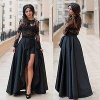 Пикантные длинные укороченный кружевной топ и Пром Макси юбка 2 частей Высокая Низкая платье для выпускного вечера элегантный комплект на в