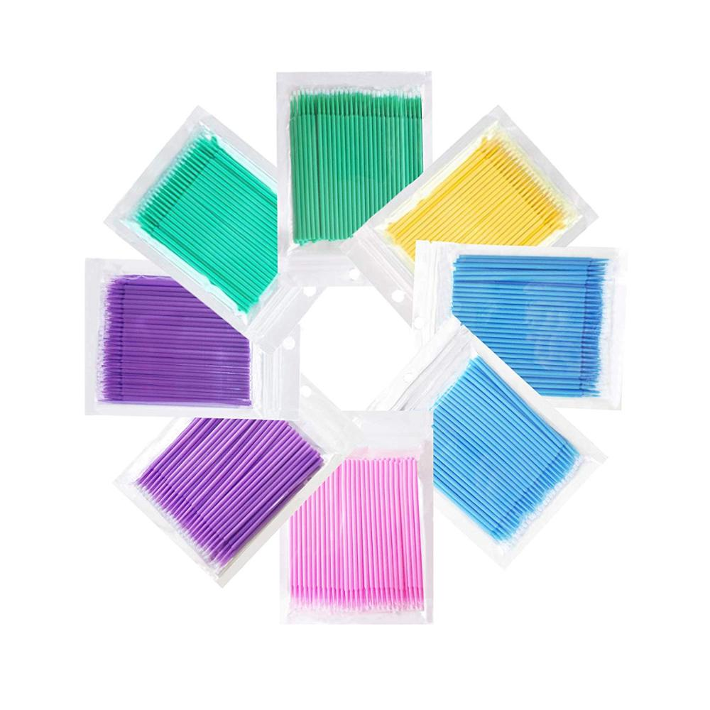 400pcs/pack Disposable Brushes Cotton Swabs Tattoo Eyelash Extension Individual Applicator Microbrushes Tools