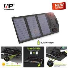 ALLPOWERS כוח בנק 5V 15W שמש חיצוני סוללה כפולה USB 5V 3A בחוץ שמש כוח בנק סוג C 5V 3A מטען סולארי עבור טלפון