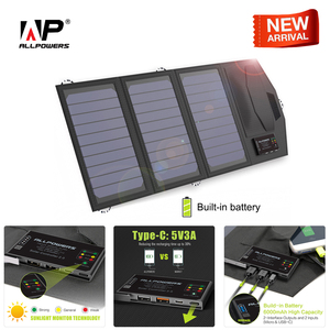 Image 1 - ALLPOWERS Power Bank 5V 15W Solar External Battery Dual USB 5V 3A Outdoors Solar Power Bank Type C 5V 3A Solar Charger for Phone
