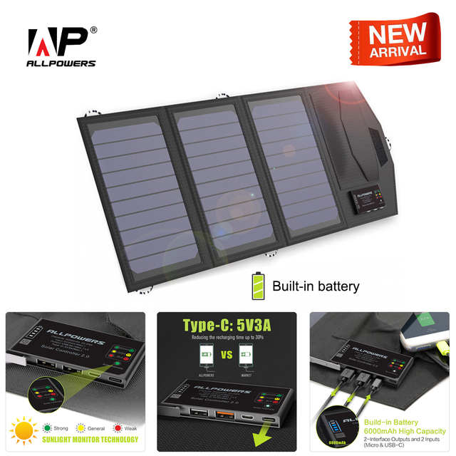 ALLPOWERS Power Bank 5V 15W Solar External Battery Dual USB 5V 3A Outdoors Solar Power Bank Type C 5V 3A Solar Charger for Phone