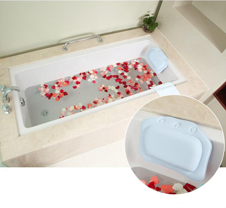 New sucker waterproof neck bath pillow massager PVC Foam Soft Plain Bath Spa Pillow bathtub pillows bathroom products