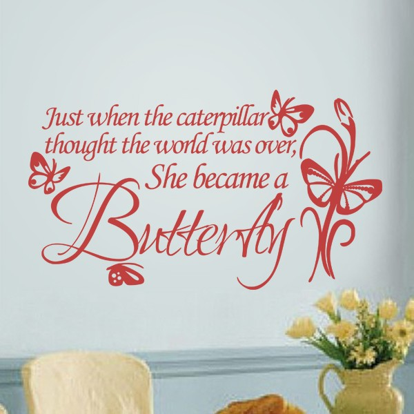 f72d96a7e9ebd Vinyl Wall Art Just When the Caterpillar Thought the World was Over.....it  became a butterfly with two butterflies 19