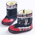 Новорожденного Мальчика Prewalker Мягкие Ботинки Снега Искусственного Меха Кружева Сапоги Снега Детская Кровать В Обуви 0-12 М