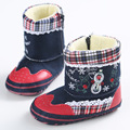Newborn Baby Boy Prewalker Soft Snow Boots Faux Fur Lace Boots Snow Crib Shoe 0-12M