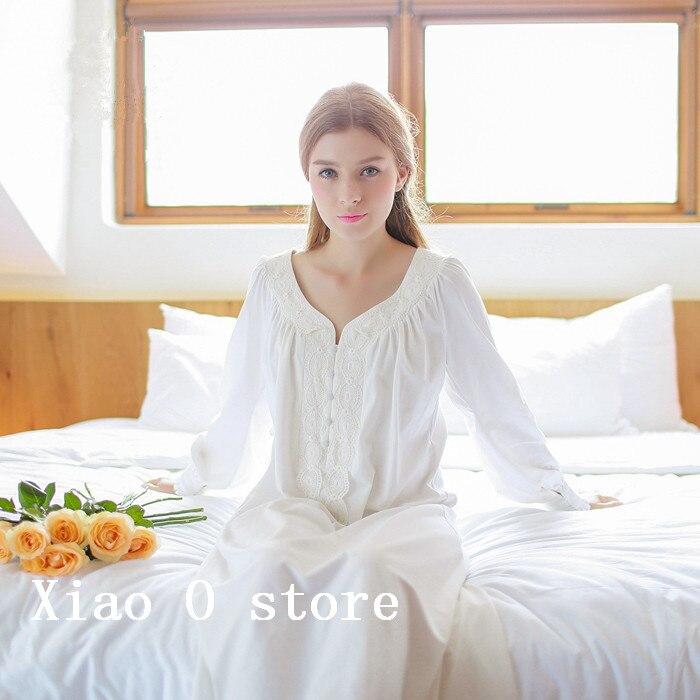 Cotton Nightgown Vintage Royal Sleepwear Long-sleeve Women Nightwear  White Pink Nightdress Comfortable Fabrics Free Shipping