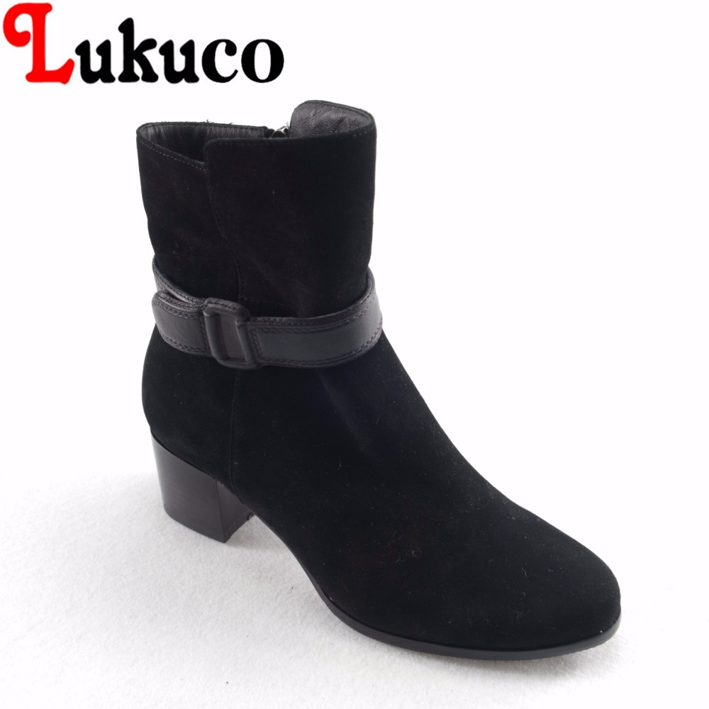 Lukuco pure color women mid-calf boots microfiber made buckle design med square heel shoes with short plush inside lukuco pure color women mid calf boots microfiber made buckle design low hoof heel zip shoes with short plush inside
