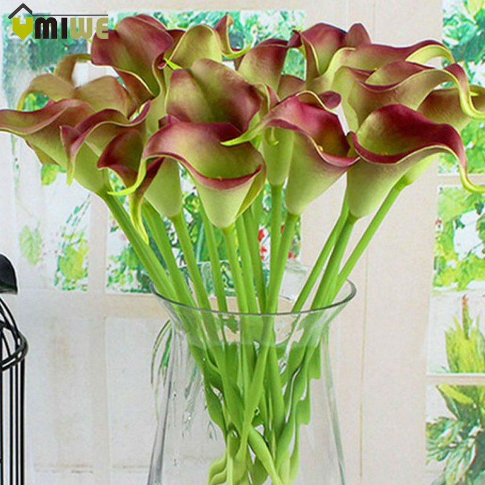 asking for flowers promotion shop for promotional asking for umiwe 10pcs european style pu calla artificial flowers wedding bouquet real touch party flowers for home office decoration