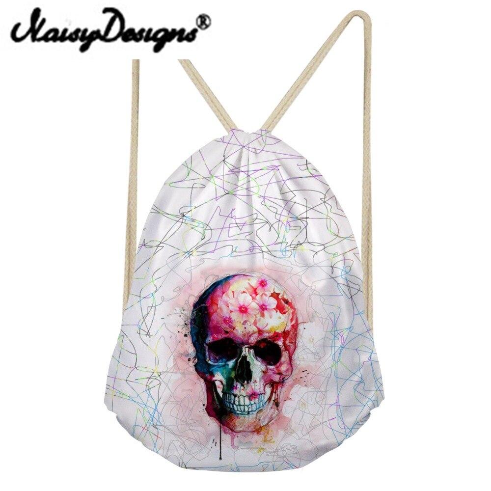 Noisydesigns Punk Skull Printing Women's Drawstring Backpack Tote String Shoulder For TeenagersBoys Harajuku Punk Bags Mochila