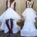 Branco sexy vestidos de alta baixa de baile africano 2017 a line ilusão Vintage Lace Apliques Plus Size Ruffles 2K17 Casal Moda vestidos