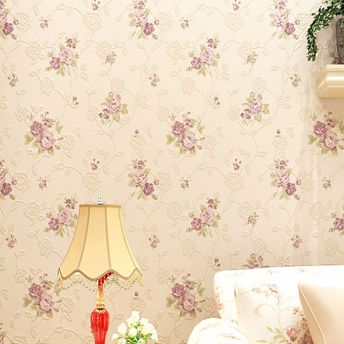 Flower wallpaper floral non woven textile wall paper print for Flower wallpaper for home