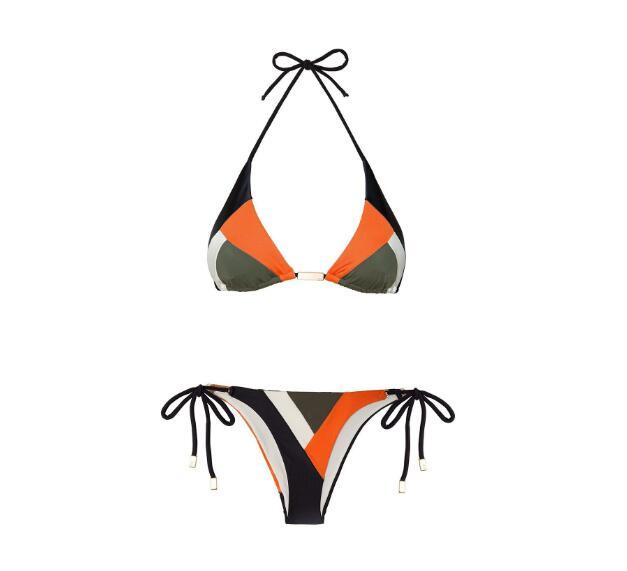 Geometric Pattern Triangle Style Bikini with Tie Side Bottoms  1