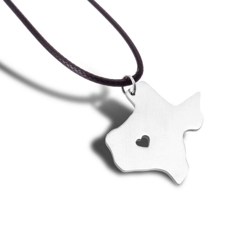 America Texas State Pendant With Heart Diy Us Map Stainless Steel Charm Punk Style Necklace As