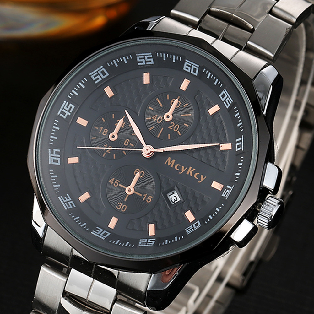 Luxury Top Brand Mens watch Black Dial Silver Stainless Steel Date Quartz Male Clock Analog