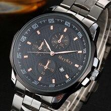 Luxe Top Marque Mens montre Cadran Noir Argent Acier Inoxydable Date de Quartz Mâle Horloge Analogique Sport Montre-Bracelet Relogio Masculino
