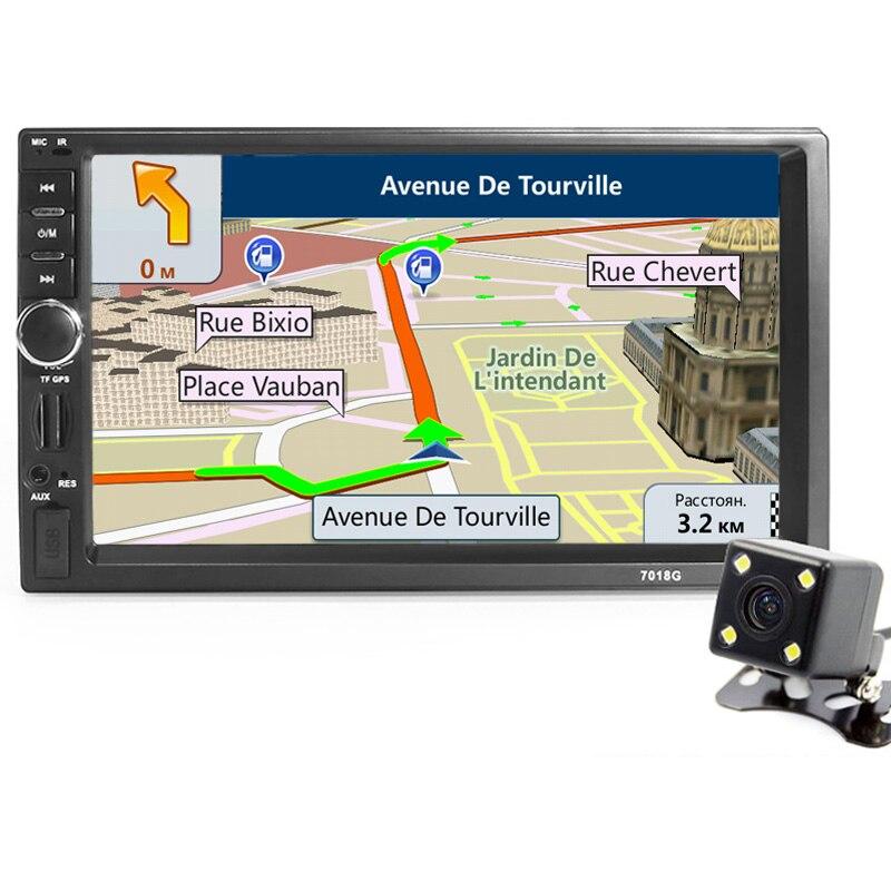 imágenes para 2din Coche Reproductor de Radio de Navegación GPS + Cámara Mapa Autoradio 7 pulgadas HD Bluetooth MP3 MP5 Audio Estéreo USB AUX Auto Electrónica 7018G