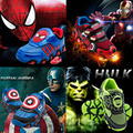 Niños bebés niños shoes brand-led flashing light sport iron man hulk capitán américa spiderman flasher niños sneakers