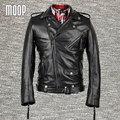 Black genuine leather jacket wind proof coats men slim cowskin motorcycle jacket chaqueta moto hombre veste cuir homme LT006