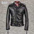 Chaqueta de cuero genuino negro a prueba de viento abrigos hombres chaqueta moto chaqueta de la motocicleta delgada piel de vaca hombre veste cuir homme lt006