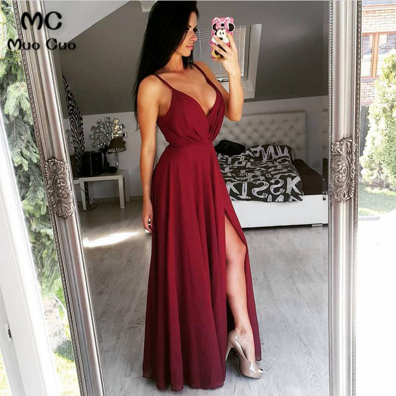 2018 Burgundy Prom Dresses Long Floor Length Spaghetti Straps V-Neck Front Slit Chiffon Formal Evening Party Dress For Women