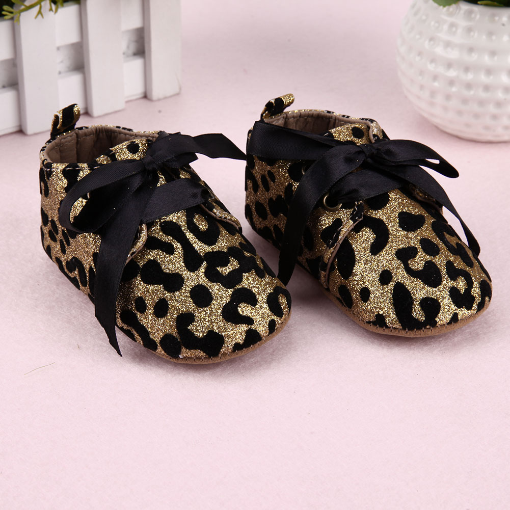 3fb5ae998c4a New Infant Baby Boy Girl shoes Leopard Glitter Trainers Soft Sole Pram  Shoes Leopard Bow Baby First Walkers Shoes leather-in First Walkers from  Mother ...