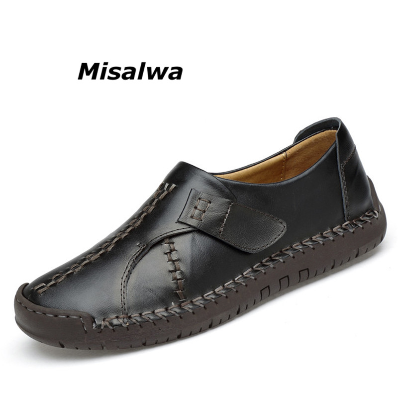 Misalwa Men's Casual Shoes Black Luxury Brand Shoes 2018 Spring Male Leather Shoes Flat Slip On Zapatos Hombre Loafers Footwear цены