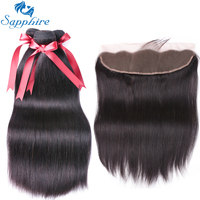 Sapphire Brazilian Straight Human Hair Bundles With Lace Frontal Closure For Salon 100 Remy Human Hair