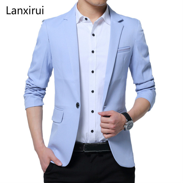 Brand Men S Casual Slim Fit Solid Suit Blazer Jacket Men Wedding Dress Blazer Male Black Suit Hombre Blazer Masculino