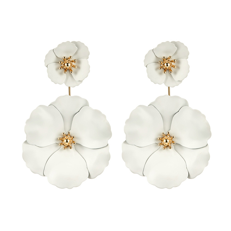 2018 new design fashion jewelry large flower earrings elegant double white flower wedding party earring for Girls gift for woman