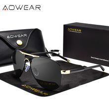 AOWEAR Brand HD Aviation Sunglasses Men Polarized Mirror Polit Sun glasses for Man Women Driving Goggles Glasses Gafas oculos
