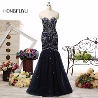 Sexy Sweetheart New Arrival Prom Dresses 2016 Black Tulle Lace Up Of Back Sleeveless Mermaid With