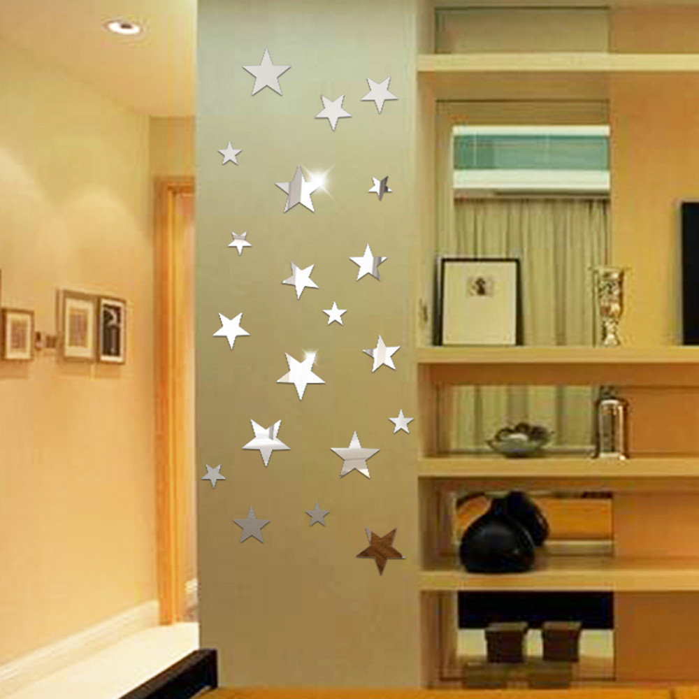 3 Color 20 Star Muursticker Art Mirror Wall Papers Acrylic Surface ...