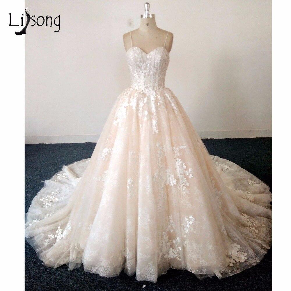 Pretty Wedding Dresses: Pretty Beige Lace Wedding Dresses 2018 Abiye 3D Flower