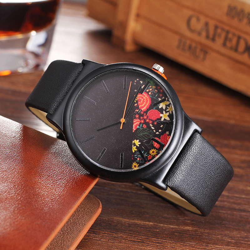Fashion Flower Leather Casual Dress Watch Ladies Wrist Quartz Watch Black Women Watches CMK brand Clock hour Relogio Feminino leather fashion brand bracelet watches women ladies casual quartz watch hollow wrist watch wristwatch clock relogio feminino