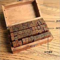 WSP719 70pcs Pack Numbers Alphabet Korean Style Retro Zakka Wooden Rubber Stamp For DIY Scrapbook DIY