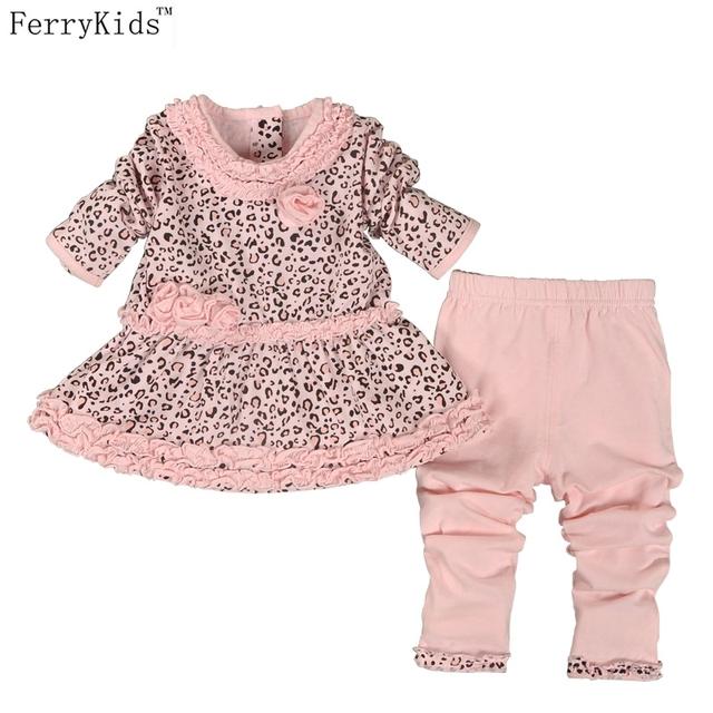 2016 Nuevo Bebé de la Manera Arropa los Sistemas de la Ropa Del Bebé Vestidos de Cumpleaños Conjunto Ropa de Bebé Leggings de Algodón de Impresión