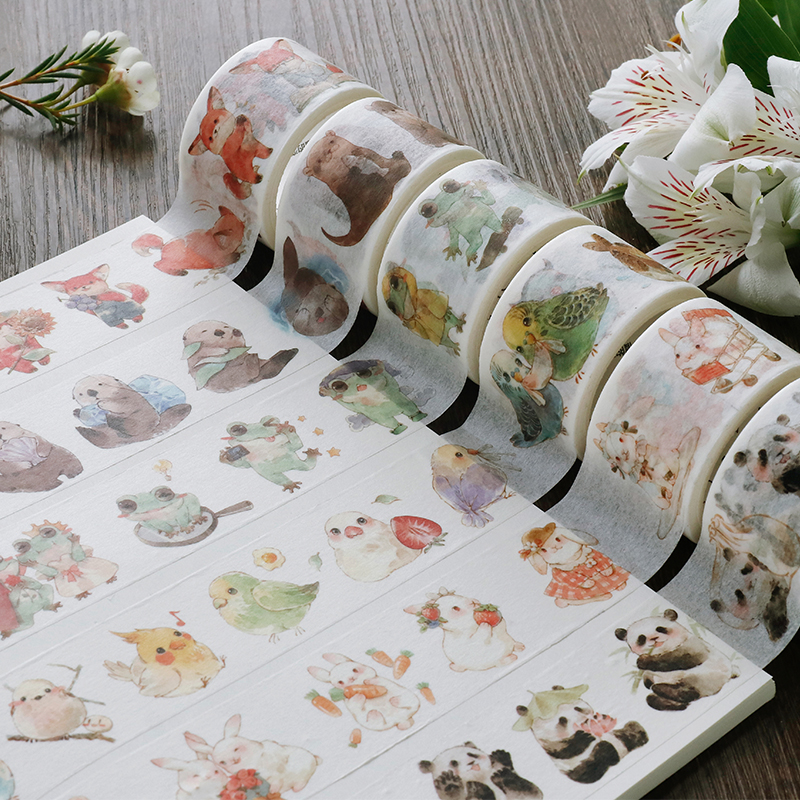10 NEW Washi Tape Animals/Panda/Birds/Flowers Japanese Decorative Adhesive DIY Masking Paper Tape Stickers Label Diary Gifts